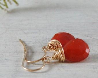 Orange Carnelian Earrings Wire Wrapped Earrings Orange drop Earrings