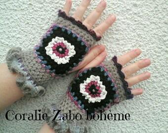 Gants en laine-Mitaines laine femme-mitaines faite-main originales-mitaines hiver crochet-crochet fait-main-coralie-zabo-boheme