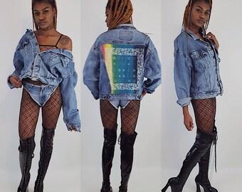 Rainbow Backpatch Jean Jacket Extra Large - Vintage Bandana Back Patched Denim Jacket - Classic 90s Unisex Upcycled Remade Denim Coat XL
