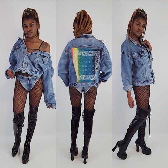 Rainbow Backpatch Jean Jacket Extra Large - Vintage Bandana Back Patched Denim Jacket - Classic 90s Unisex Upcycled Remade Denim Coat XL