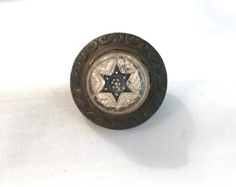 Antique Victorian Picture  Screw Hanger Hook - Blue Star of David - Pearl White - Beveled Glass - Jewelry