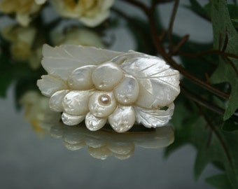 Carved Shell MOP Brooch - Vintage