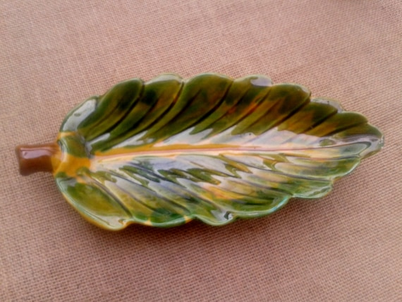 Yellow Leaf Dish French Pottery Vallauris Handmade Handpainted Yellow Green Brown  French Provence Vallauris Ceramic #sophieladydeparis