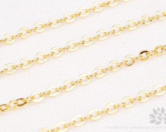 C110-G// Gold Plated Cable Chain, Gossy, 1M