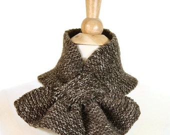 Brown knit scarf, brown keyhole scarf, brown knit ascot, heather brown scarf, unique scarf, brown knit scarflette, womens winter scarf