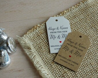 MINI TAG Hugs and Kisses Tag, Hugs and Kisses from Mr and Mrs. Wedding Favor Tag, Personalized Tags. Thank you tags. Set of 25 to 300 pieces