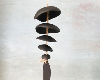 Black clay- Ceramic wind chime- Handmade -wind chime-patio- wedding gift- wabi sabi- bell- gift for him- boyfriend gift- cabin wind chime