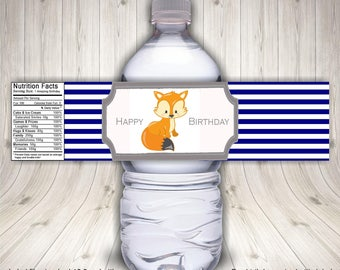 Fox Birthday Party, Fox Baby Shower, Water Bottle Labels, Fox Theme Party, Forest Birthday, Fox Stickers, Fox Water Bottle, Fox Favors