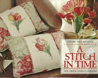 Leisure Arts:  A Stitch In Time 1994 Cross Stitch Calendar