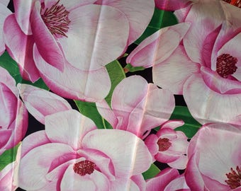 Peony cotton, large print, beautiful cotton, pink and green fabric,  remnant piece only