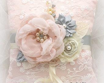 Ring Bearer Pillow, Ivory, Blush, Silver, Gray, Elegant Wedding, Vintage Style, Bridal, Lace, Crystals, Pearls, Brooch, Gatsby Wedding