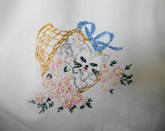The Kittie Dress. Easter.  Eco Friendly Childrens Dress. Custom Girls Dress. Vintage Embroidered Dress. Pillowcase Dress. Easter Dress.