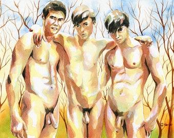 """Print of Original Artwork Watercolor Painting Erotic Male Man Nude Gay """"Three guys"""""""