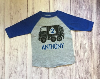 Trash truck birthday shirt, garbage truck birthday shirt, digger birthday shirt, sanitation truck t-shirt, trash truck shirt, trash trucks