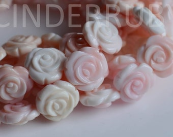 Pink Queen Conch Shell Roses,Pink Mother of Pearl Shell Beads,Pink MOP Flower Beads,10/12/15/20 mm,Hand Carved Carved All the Way Around