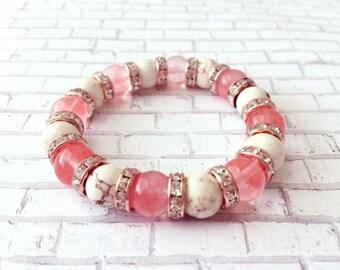 Beaded bracelet/Bracelet/glass bead bracelet/pink beaded bracelet/bracelet for her/personalized bracelet/elastic  bracelet/gemstone bracelet