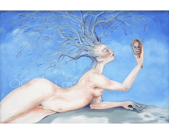 Tree Goddess, Surreal Oil painting, 5 x 7 Giclee Print, Goddess of trees, Surrealistic Painting, Goddess Art, Nude woman, nude painting,