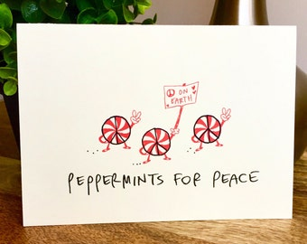 Peppermints for Peace, Peace on Earth card, hand letter christmas cards, funny christmas cards
