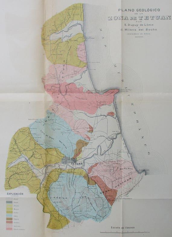 1917 Tetouan Spanish Morocco Map Mdiq Cabo Negro