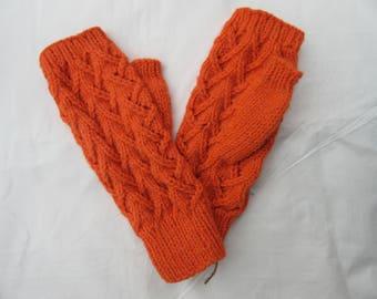 Fingerless Gloves — Tipless Finger Gloves — Knit Fingerless Gloves — Fingerless Mittens — Orange Fingerless Gloves — Lace Fingerless Gloves