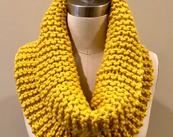 Mustard Gold Hand Knit Infinity Scarf