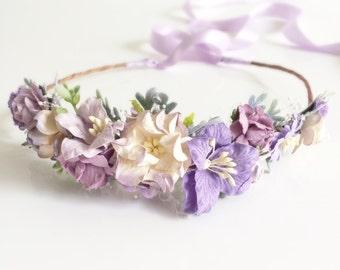 Lavender Flower Crown- Bridesmaids Headband- Purple floral headpiece- Hair Accessory- Flower Girl Headband- Photo Prop