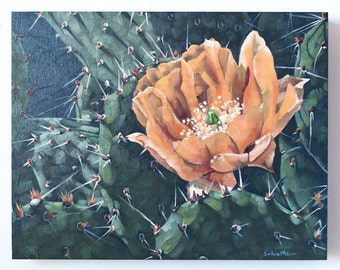 "Original Oil Painting, Floral Cactus Painting, Contemporary Realism Art, On SALE, ""Spring in the Desert"""
