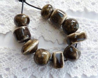 Ceramic beads ~ 10 handmade clay beads, black ceramic bead, stoneware beads, handmade jewellery supplies, handmade bead