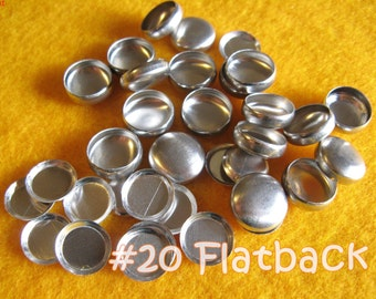 200 Cover Buttons FLAT BACKS - 1/2 inch - Size 20  flat backs no loops covered buttons notion supplies diy refill