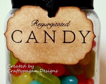 Regurgitated Candy Halloween Party Tags/ Labels/ Spooky Party Tags Vintage Style/ Set of 10