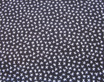 "Hampton Print Works knit fabric,black w/ white stars, suitable for clothing, 60"" wide x 1yd. +32"""