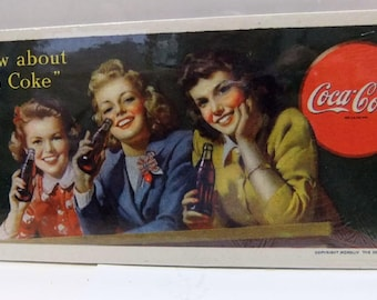Coca Cola Vintage Advertisement Original Coke, Coca Cola Ink Blotter 1944