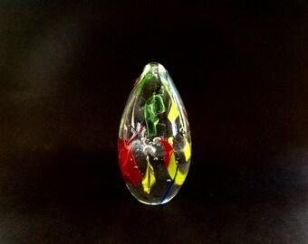 Art Glass Paperweight - Gazing Ball - Graduation Gift Idea - Reds Yellows Greens - Glass Ball