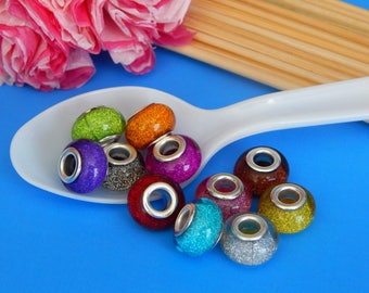 10, Acrylic Sparkle Beads, European Beads, Shimmer Colorful Beads, Brass Cores, Mixed Colors, Sparkling, Pendant Lot, Bulk Charms, #120A