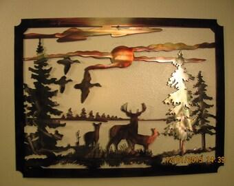 "Deer Scene 24"" x 16"" - Metal Wall Art"