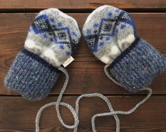 Felted Wool Mittens, Recycled from Sweaters, for baby