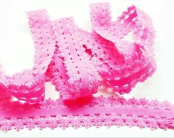 1 meter Pink elastic lace tape geometric patterns, width 20 mm