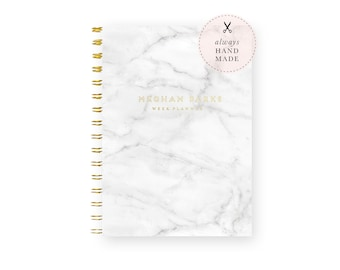 Weekly Planner Personalized – Dateless Planner Spiral Bound, Marble Planner A5