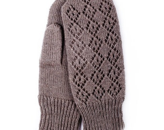 Women's double knitted lambswool Mittens/Winter gloves/Gray/black/white/lace
