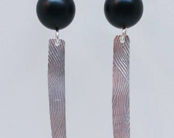 Simple Black and Textured Earrings