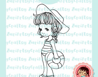 Digital Stamp, Julieta, Cute Girl, Pool, Summer, Scrapbooking Digital Stamp, Instant Download, Zuri Artsy Craftsy