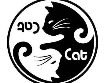 Cat Yin Yang Vinyl Decal Sticker