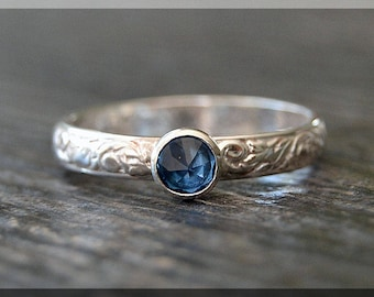 Sterling Silver Birthstone Ring, Choose Your Birthstone, Stacking Gemstone Ring, Floral Shank Ring, Gemstone Layering Ring, Inverted Setting
