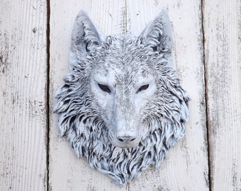Wolf Head // Wolf Decor // Choice Color // Native American Decor // Wolf Wall Sculpture // Faux Animal Head // Faux Taxidermy Cyber Monday