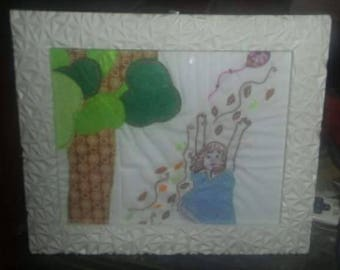Blustery Day Applique Embroidered Picture