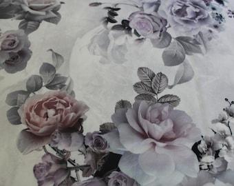 Pastel Gray-colored floral crepe silk, silk fabric, silk for dress, silk for decor,buy yard, silk floral fabric, -1/yard