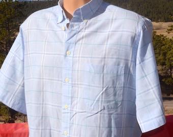 vintage 80s plaid shirt LEVI'S colorgraphs short sleeve button down blue oxford preppy Large Medium 70s