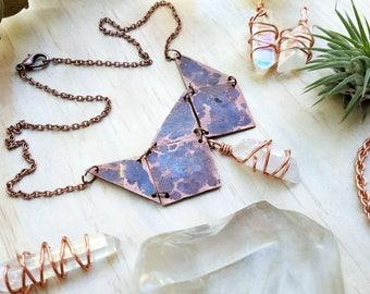 Aura Quartz Crystal & Copper Geometric - Hand-Hammered Copper - Crystal Jewelry, Crystal Necklace, Copper Necklace, Aura Crystal Necklace