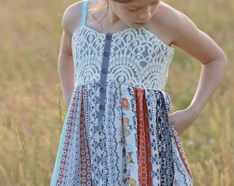 Sun Dancer Top and Dress PDF Sewing Pattern, including sizes 12 months-12 years, Girls Dress Pattern