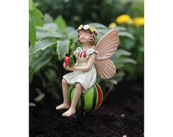 "Fairy Leah on her Watermelon (2.5"" Tall) in her Fairy Garden"